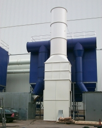 Accessible exhaust air tower with integrated silencers